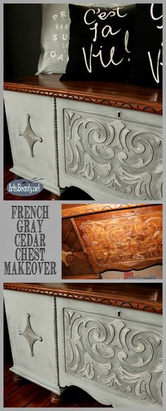 ART IS BEAUTY: French Gray Cedar Chest Makeover and Giveaway Winner Announcement