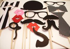 Photo booth Props -Wedding Photo booth - Photo Props - Wedding Photo props - Set of 15 - Black and White  Hipster  Set by IttyBittyWedding on Etsy https://www.etsy.com/listing/96292041/photo-booth-props-wedding-photo-booth