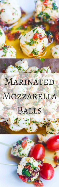 Marinated Mozzarella Balls - skewer with cherry tomatoes for a party appetizer - always a party favorite - super easy and delicious