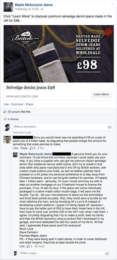 Maple Moto, makers of fine motorcycle jeans, deliver a brilliant riposte to a tight-fisted Facebook troll. Way to go!