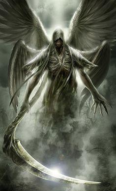 Angel of death Dark Fantasy Art, Fantasy Kunst, Fantasy Artwork, Grim Reaper Art, Grim Reaper Tattoo, Demon Art, Art Dark Souls, Angel Of Death Tattoo, Art Sombre