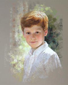 Wonderful head & shoulders pastel portrait of a boy by a Portraits, Inc. artist