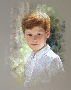 Wonderful head & shoulders pastel portrait of a boy by a Portraits, Inc. artist