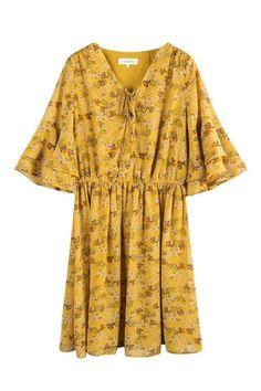 V-Neck Bowtie Floral High Waist Dress