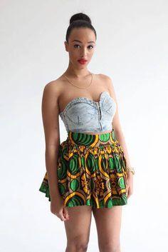 How to wear a crop top /#africanprint #ciaafrique #skater skirt
