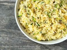 Cheesy Zucchini & Mushroom Rice is a yummy side dish that is perfect with any summertime dinner!  thebestblogrecipes.com