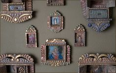 Retablos are a sophisticated Andean folk art in the form of portable boxes which depict religious, historical, or everyday events Yard Art Crafts, Mayan Symbols, Viking Symbols, Egyptian Symbols, Viking Runes, Ancient Symbols, Faith Crafts, Ceramic Workshop, Tin Art