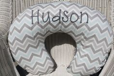 Personalized Mist and Gray Chevron with Gray by DesignsbyChristyS