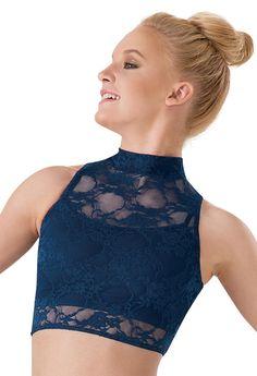 Sleeveless Lace Mock Turtleneck Crop Top | Balera™