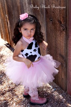 Tutu MooTu  Cow Pink Tutu Baby Toddler Outfit by babyblushboutique, $45.00