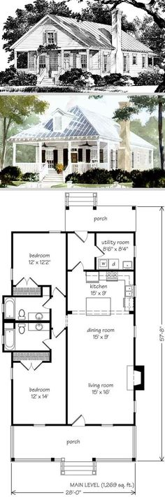 Cabins And Cottages: sq ft - Make this smaller - cut out utility .add master back if house Dream House Plans, Small House Plans, 1 Bedroom House Plans, Kids Bedroom, Two Bedroom Tiny House, Br House, House Bath, Haus Am See, Cabins And Cottages