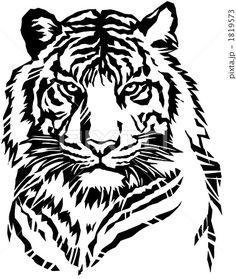 虎 上半身切り絵