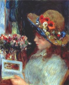 Young girl reading Artist: Pierre-Auguste Renoir http://amzn.to/2tOEmSw