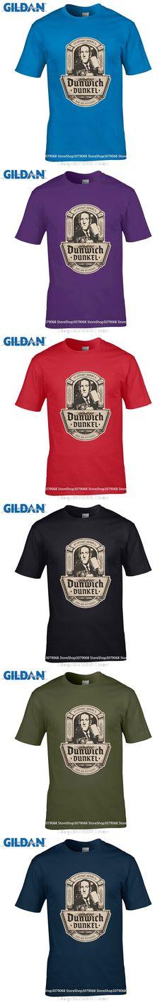 GILDAN casual t-shirt Brand 2017 New T Shirt Man Cotton DUNWICH SOMBRE Lovecraft Miskatonic Biere University Logo