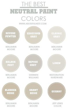 Neutral Paint colors to use from room to room. Benjamin Moore Revere Pewter…