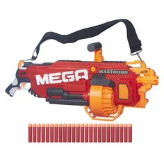 Dominate NERF blaster battles with the first-ever motorized NERF N-Strike MEGA Mastodon Blaster! The NERF MEGA Mastodon blaster boasts incredible rapid-fire speeds to send MEGA Whistler darts screaming through the air from its integrated 24-dart drum. Bring the MEGA Mastodon Blaster into action to overwhelm opponents with its imposing size. Use the shoulder strap for easy maneuvering to be ready for NERF battles anytime, anywhere. Includes shoulder strap and 24 MEGA Whistler…