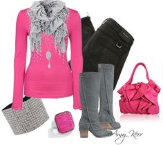 """Hot Pink"" by amy-kerr ❤ liked on Polyvore"