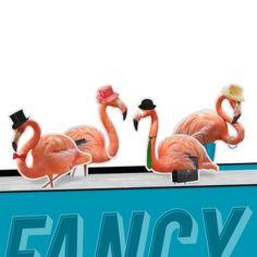 Mustard Boekenlegger Set van 4 - Fancy Flamingos