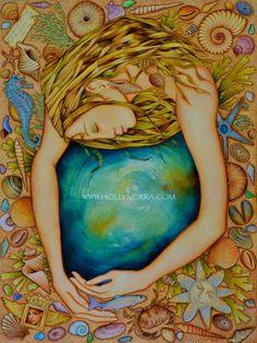 Oceania A Fine Art Greeting Card | Etsy Tarot, Acrylic Artwork, Goddess Art, Mermaid Art, Fine Art, Totems, Oeuvre D'art, Mother Earth, Fantasy Art