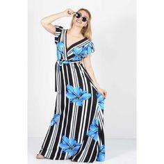 Φόρεμα maxi εμπριμέ κρουαζέ Μπλε