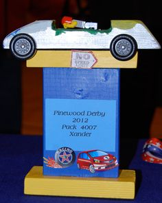 "What a great way for everyone to walk away with a keepsake -- ""trophy"" stand for their car!"