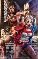 Harley Quinn and Wonder Woman by DyanaWang