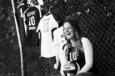 With my basketball, soccer, and volleyball jerseys and the volleyball & basketball in my hands and the soccer ball at my feet! Farm Senior Pictures, Volleyball Senior Pictures, Sports Pictures, Senior Photos, Senior Portraits, Volleyball Photography, Senior Photography, Volleyball Workouts, Volleyball Jerseys