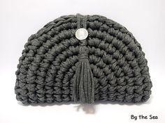 T shirt yarn crochet Clutch Bag Black MIX by BytheSeajewel