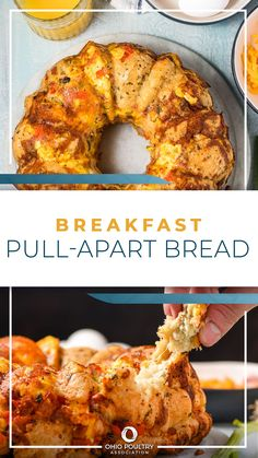Filled with breakfast favorites - scrambled eggs, ham and cheese - Breakfast Pull Apart Bread is savory and makes enough for the whole family to share!
