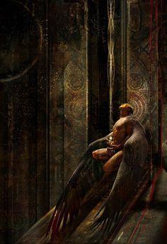 Fantasy worlds Stephan Martiniere Fantasy World, Dark Fantasy, Fantasy Art, Male Angels, Angels And Demons, Albrecht Durer, Angel Warrior, Ange Demon, Wow Art