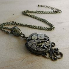 Image of Beautiful Steampunk Clockwork Pendant Necklace