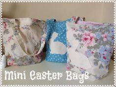 Easter is on its way and my three bunnies get so many eggs that they're eating them till the summer! Why should this year be any different!? I've made them each a little Easter tote bag to hold some mini Easter treats.