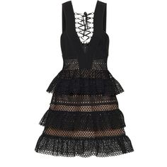 Self Portrait Lace-Up Tiered Dress ($530) ❤ liked on Polyvore featuring dresses, black, lace up corset dress, tiered cocktail dress, front lace up corset, strappy dress and zipper dress