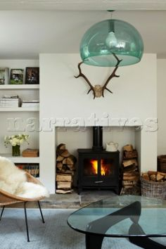 A wood burner with a roaring fire in the living room keeps them warm in the winter months For a full
