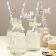 rock a bye baby party supplies paper straws Fiesta Baby Shower, Baby Shower Parties, Baby Showers, Unisex Baby Shower, Baby Boy Shower, Spa Sleepover Party, Baby Rocking Horse, Daisy Party, Rock A Bye Baby