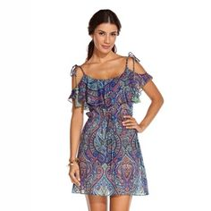 COPACABANA - ondademar.com Cotton silk printed mini dress. Ruffle neck drop and arm Straps with tasseles  https://ondademar.com/catalog/product/copacabana-3/