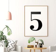 Number 5 Printable Art Poster, Number 5 Sign, Number 5 Wall Art, Kids Room Decor, Black & White Printable Wall Art *Instant Download* Printing Websites, Online Printing, Bedroom Wall, Bedroom Decor, Above Bed, Number 5, Art Kids, Carpe Diem, Printable Wall Art