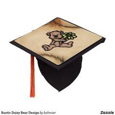 Great for Kindergarten graduate Rustic Daisy Bear Design Graduation Cap Topper