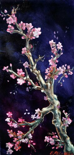 Flower Painting Painting - Cherry Blossoms by Eve McCauley