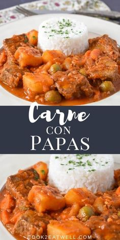 Carne con Papas translates to beef with potatoes. It's a popular Cuban dish, and like most Cuban food, it's made with simple, affordable ingredients. The ingredients in carne con papas are similar to what you'd put in a beef stew, but it is saucy instead of soupy. #carneconpapas #beefandpotatoes #Cubanrecipes Cuban Dishes, Spanish Dishes, Pork Recipes, Mexican Food Recipes, Ethnic Recipes, Traditional Cuban Food, Grilling Recipes, Cooking Recipes, Pork And Beef Recipe