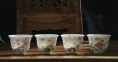 4 JingDeZhen Porcelain hand-drawing Cup;Chinese traditional handmade tea set