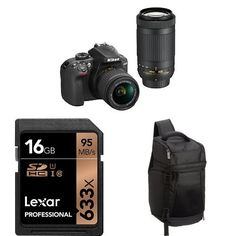Nikon D3400 w/ AF-P DX NIKKOR 18-55mm f/3.5-5.6G VR & AF-P DX NIKKOR 70-300mm f/4.5-6.3G ED (Black) + 16GB Memory Card and Bag  Price: $596.95