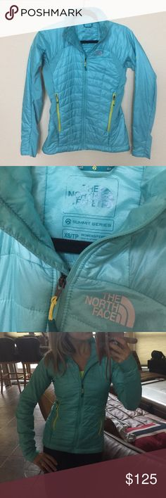 The North Face Primaloft down puffer coat jacket Xs form flattering ultra thin North Face puffer jacket. Comes with original tags. In great used condition and holds a lifetime warranty at the north Face - worn a handful of times just over athletic clothes to and from. Not a lot of outdoor use . Really beautiful turquoise teal green . Summit series DNP jacket The North Face Jackets & Coats Puffers
