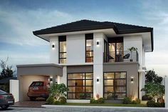 50 Small Two-storey House Designs That Can Be Fitted In Small Lot Area - Contemporary house design - House Architecture Two Story House Design, 2 Storey House Design, House Front Design, Modern House Design, Contemporary Design, Two Storey House Plans, Small House Floor Plans, Modern House Plans, Small Modern House Exterior