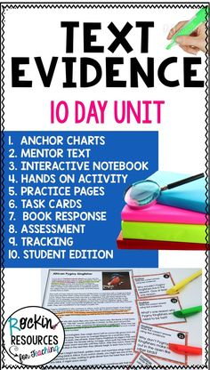 This Text Evidence unit is a complete, NO-Prep unit with a variety of activities to help students have a deeper understanding of their reading.  Anchor Charts, Mentor Text, Interactive Pages, Practice, Task Cards, Assesment, Tracking, and Student Edition!  These comprehension skills include: What is TEXT EVIDENCE? How to Provide TEXT EVIDENCE through ACE and RAP -PRIOR KNOWLEDGE, HIGHLIGHTING, INFERRING, PARAPHRASING, QUOTING and more!