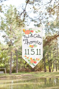 hanging date flags // wedding day details