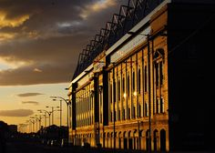 Ibrox in the sunset Rangers Football, Rangers Fc, Orange Order, Glasgow Scotland, Football Pictures, Football Stadiums, Chelsea, Architecture, City
