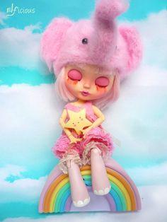 Ooak custom Blythe doll  Nelly the Elephant by ELFiciousShop
