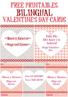 FREE Spanish Valentine cards for kids Just download and print on