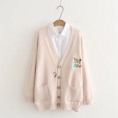 Japanese Fox Embroidery Cardigan Sweater Pocket – juwas.com online store Cute Korean Fashion, Cute Fashion, Fashion Outfits, Grunge Outfits, Cheap Cardigans, Fox Embroidery, Japanese Cartoon, Japanese Fox, Winter